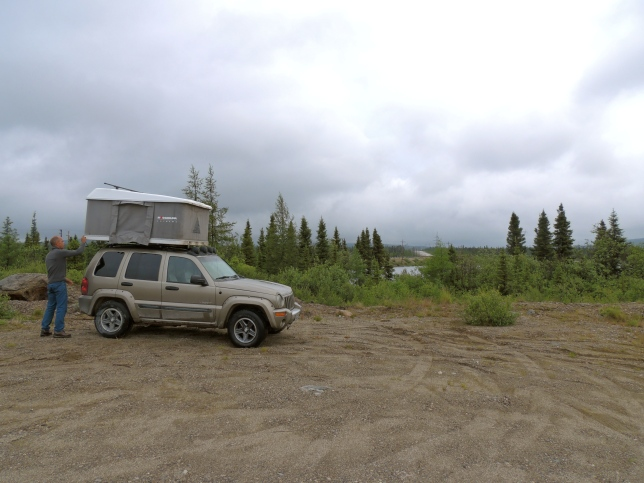 Our home away from home. Addison's too big to share it now so in situations where we couldn't erect his small tent he sprawled out across the back seat of the Jeep.