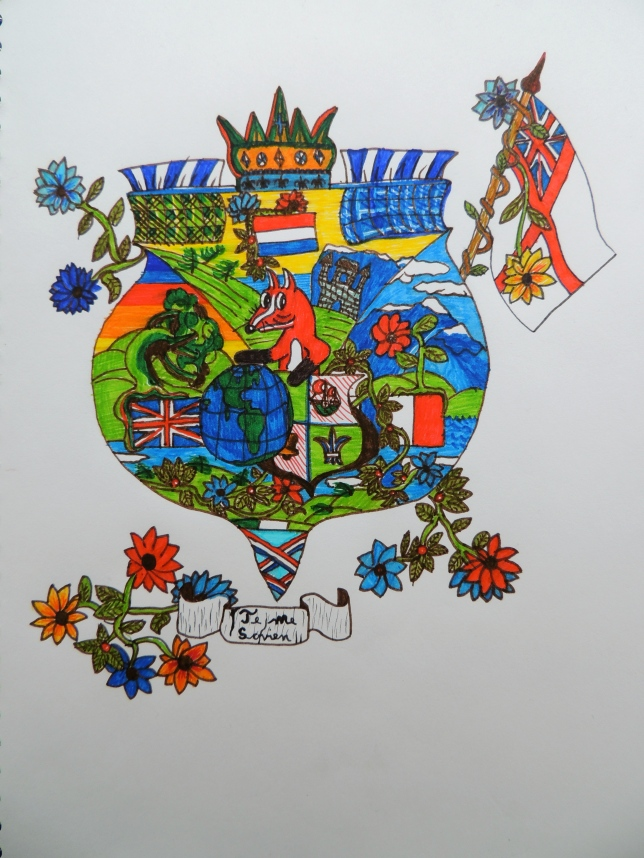 Hours on the road with nothing but books, a musical instrument and pens and paper left the boy with no choice but to be creative. He drew his own coat of arms on the last day.